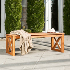 Acacia Brown Wood X-Frame Outdoor Bench