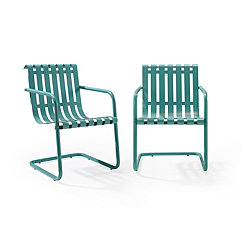 Blue Stainless Steel Outdoor Chairs, Set of 2