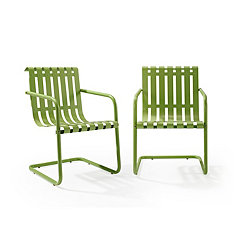 Green Stainless Steel Outdoor Chairs, Set of 2