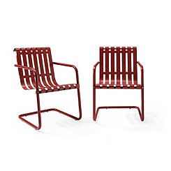 Red Stainless Steel Outdoor Chairs, Set of 2