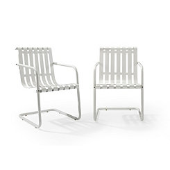 White Stainless Steel Outdoor Chairs, Set of 2