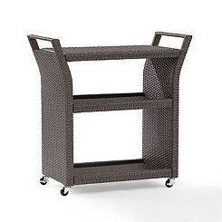 Harbor Wicker Gray Bar Cart