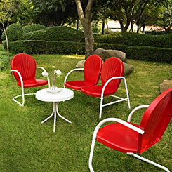 Griffin Metal Red Patio Set, Set of 4