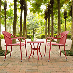 Harbor Red Wicker 3-pc. Outdoor Patio Set