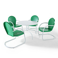 Green and White Metal 5-pc. Outdoor Dining Set