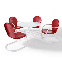 Red and White Metal 5-pc. Outdoor Dining Set