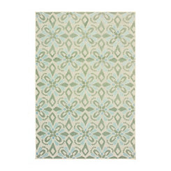 Green Castleberry Outdoor Area Rug, 7x10