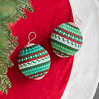 Knit Ball Christmas Ornament, Set of 2