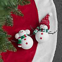 Snowman with Knit Scarf Ornament, Set of 2