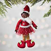 African American Pixie Elf Girl Ornament