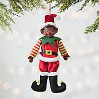 African American Pixie Elf Boy Ornament
