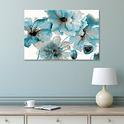 Teal Kissed Hues Embellished Canvas Art Print