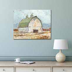 Whitewashed Barn Embellished Canvas Art Print