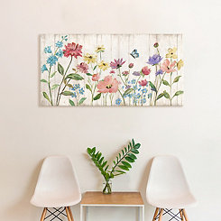 Wildflower Flutter on Wood Art Print
