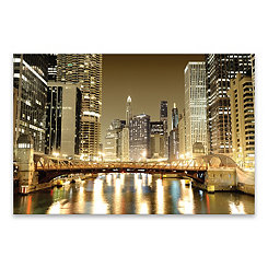 Chicago Downtown Embellished Canvas Print