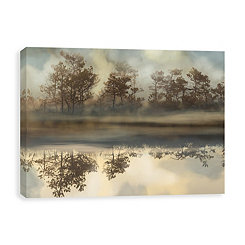 Foggy Morning River Embellished Canvas Print