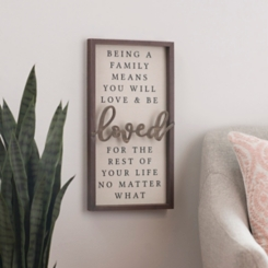 Being a Family Means Love Wood Plaque