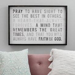 Pray to Have Sight Framed Wood Wall Plaque