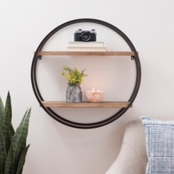 Metal Circle Double Wood Plank Wall Shelf
