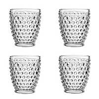 Clear Bistro Dot Glass Tumblers, Set of 4