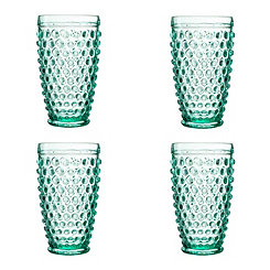 Green Bistro Dot Glasses, Set of 4