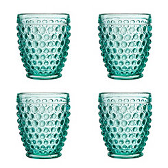 Green Bistro Dot Glass Tumblers, Set of 4