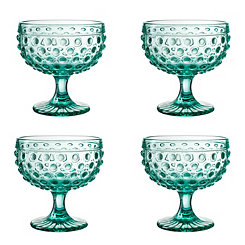 Green Dot Pedestal Bowls, Set of 4