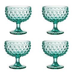 Green Dot Pedestal Bowls, Set of 4