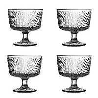 Clear Crocodile Pedestal Bowls, Set of 4