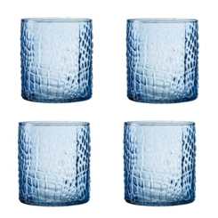 Blue Crocodile Glass Tumblers, Set of 4