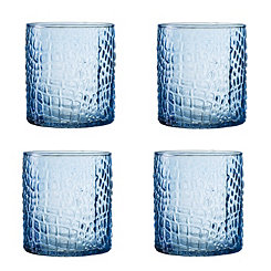 Blue Crocodile Glass Tumblers, Set of 4