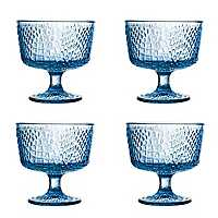 Blue Crocodile Pedestal Bowls, Set of 4