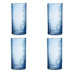 Blue Crocodile Highball Glasses, Set of 4