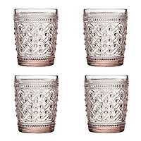 Pink Ikat Glass Tumblers, Set of 4