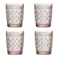Pink Ikat Glass Tumblers, Set of 4