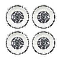Beaded Medallion Melamine Dinner Plates, Set of 4