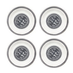 Beaded Medallion Melamine Dinner Plates, Set of 4