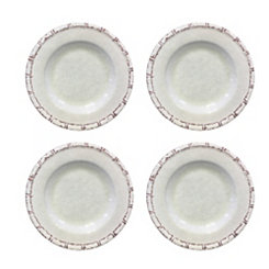 Bamboo White Melamine Dinner Plates, Set of 4