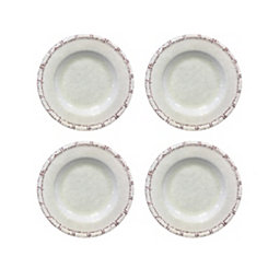 Bamboo White Melamine Salad Plates, Set of 4