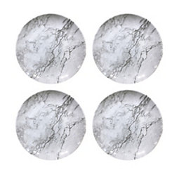 Gray Marble Melamine Dinner Plates, Set of 4