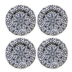 Old Town Blue Melamine Dinner Plates, Set of 4