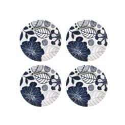 Blue Floral Melamine Salad Plates, Set of 4