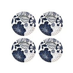 Blue Floral Melamine Salad Plates, Set of 4