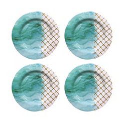 Teal Soiree Melamine Dinner Plates, Set of 4