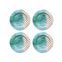 Teal Soiree Melamine Salad Plates, Set of 4