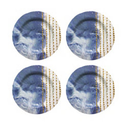 Blue Soiree Melamine Dinner Plates, Set of 4