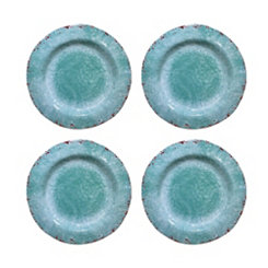 Vintage Teal Melamine Dinner Plates, Set of 4
