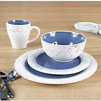 White and Blue Granada 16-pc. Dinnerware Set