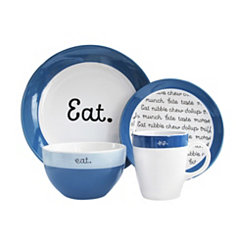 Blue Conversation Ceramic 16-pc. Dinnerware Set