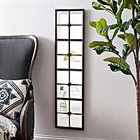 Black Metal Panel Framed Mirror, 12x48 in.